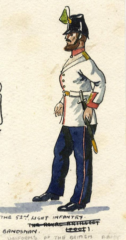 British Army Uniform: 52nd Oxford Regiment - Early C20th watercolour painting