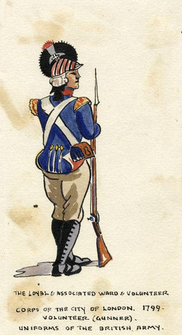 British Army Uniform: City of London Corps - Early C20th watercolour painting