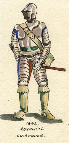 British Army Uniform Royalists Cuirassier 1642 -Early C20th watercolour painting
