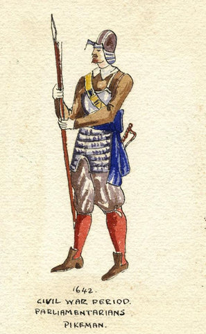 British Army Uniform: Parliamentarians Pikeman -Early C20th watercolour painting