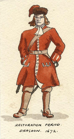 British Army Uniform: Dragoon, 1672 - Original early C20th watercolour painting