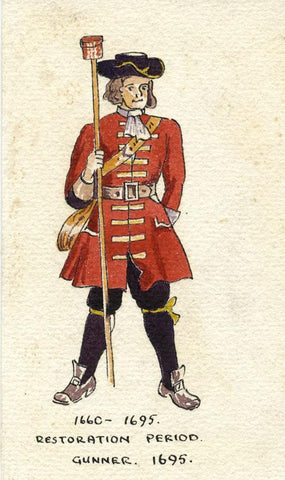 British Army Uniform: Gunner, 1695 - Original early C20th watercolour painting