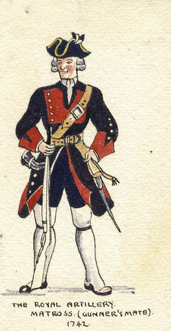 British Army Uniform: Matross, 1742 - Original early C20th watercolour painting