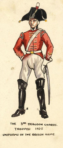 British Army Uniform: 3rd Dragoon Guard, 1805 - Early C20th watercolour painting