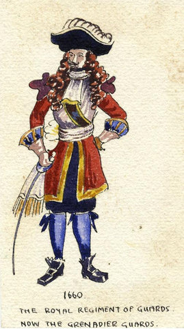 British Army Uniform: Grenadier Guard, 1660 - Early C20th watercolour painting