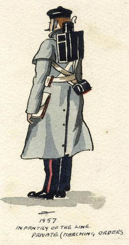 British Army Uniform: Infantry of the Line - Early C20th watercolour painting