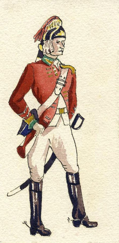 British Army Uniform: 13th Hussars, 1775 - Early C20th watercolour painting