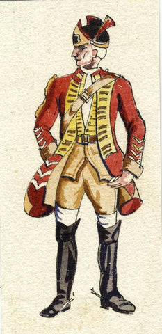 British Army Uniform: 2nd Dragoon Guards, 1756 -Early C20th watercolour painting