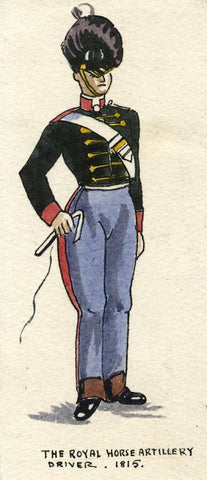 British Army Uniform: Royal Horse Artillery Driver 1815 - Early C20th painting