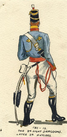 British Army Uniform: 8th Light Dragoon, 1811 - Early C20th watercolour painting