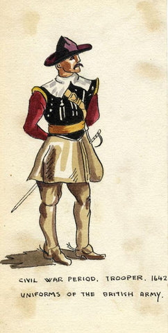 British Army Uniform: Civil War, Trooper, 1642 -Early C20th watercolour painting