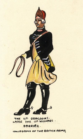 British Army Uniform: 11th Dragoons, Farrier - Early C20th watercolour painting