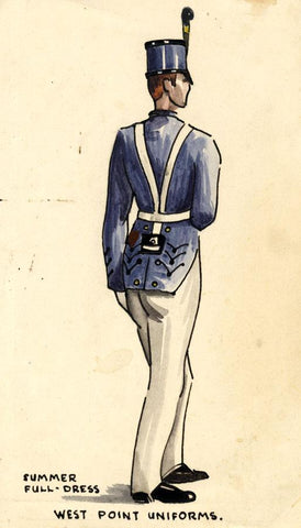 West Point Summer Uniform United States -Early 20th-century watercolour painting