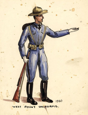 West Point Uniform 1930, United States - Early 20th-century watercolour painting