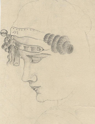 Naive School, Female in Headdress Portrait Study - 1880s graphite drawing