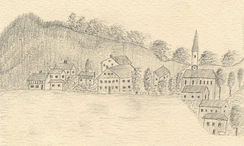 Naive School, Continental Hill side Village - Original 1880s graphite drawing