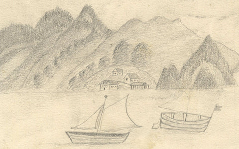 Naive School, Continental Lake with Boats - Original 1880s graphite drawing