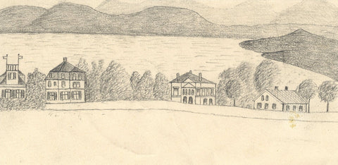 Naive School, Lakeside Houses, Tutzing, Germany - Original 1885 graphite drawing