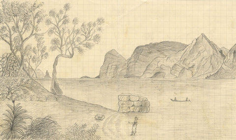 Naive School, On Lake Garda, Italy - Original 1890 graphite drawing