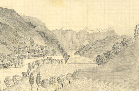 Naive School, Montgenevre, Switzerland - Original 1880s graphite drawing