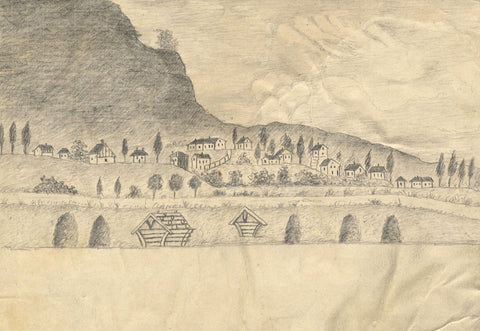 Naive School, Continental Village with Beehives -Original 1880s graphite drawing