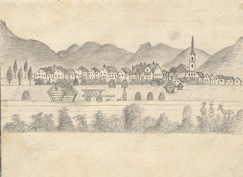 Naive School, Continental Village with Farming - Original 1880s graphite drawing