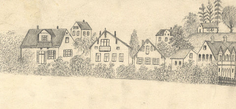 Naive School, Houses, Tutzing, Bavaria, Germany - Original 1885 graphite drawing