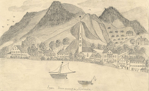 Naive School, Tegernsee on the Lake, Germany  - Original 1885 graphite drawing