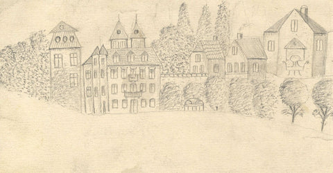 Naive School, Houses, Bavaria, Germany - Original 1880s graphite drawing