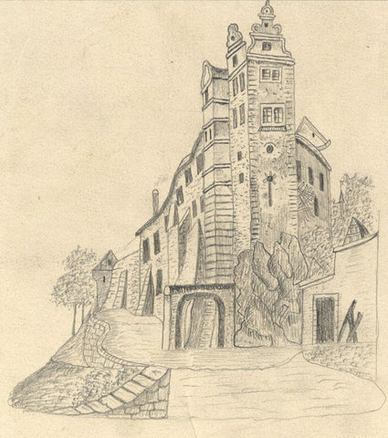 Naive School, Wettin Castle, Germany - Original 1889 graphite drawing