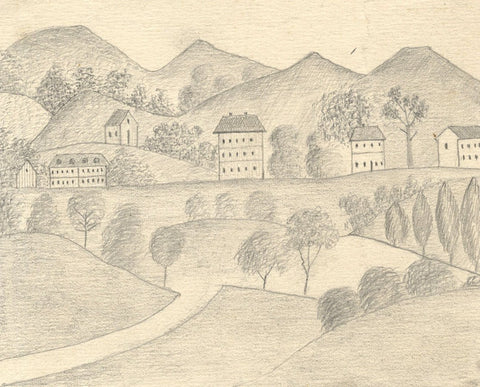 Naive School, Continental Houses on the Hillside - 1880s graphite drawing