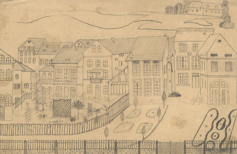 Naive School, Continental Town House Garden View - 1880s graphite drawing