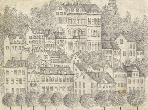 Naive School, Continental Hillside Town View - Original 1880s graphite drawing