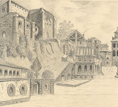 Naive School, San Domenico Basilica, Siena, Italy - 1888 graphite drawing