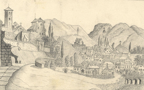 Naive School, Bassano del Grappa, Italy - Original 1884 graphite drawing