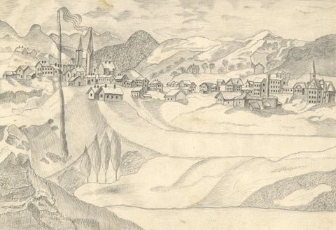 Naive School, Town View, Davos, Switzerland - Original 1880s graphite drawing