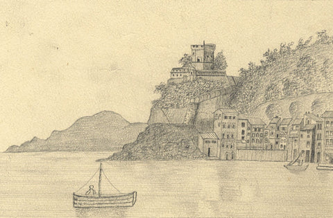 Naive School, Coastal View, Porto Venere, Italy - Original 1887 graphite drawing