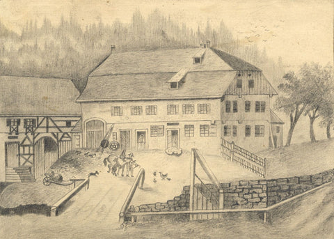 Naive School, Farmyard with Horse & Stables, Switzerland -1880s graphite drawing