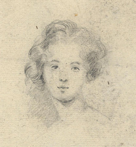 Portrait of a Girl - Original 19th-century graphite drawing