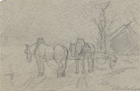 Jules Montigny, Horses & Cart on Rural Road - Original 1874 graphite drawing