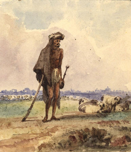 Albert A. Harcourt, Arab Shepherd with Sheep - 19th-century watercolour painting