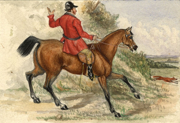 Albert A. Harcourt, Fox Hunting -Original late 19th-century watercolour painting