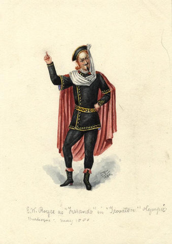 Albert A. Harcourt, Ferrando in Opera Il Trovatore - 1880 watercolour painting