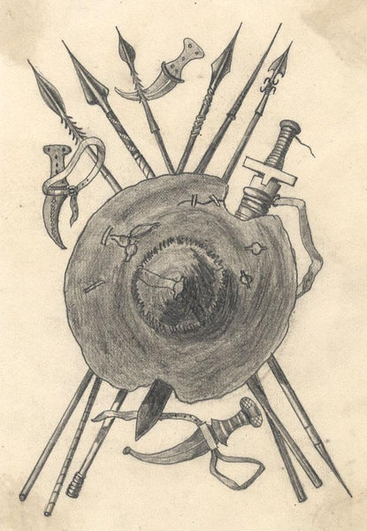 Albert A. Harcourt, Viking Spears & Shield - late 19th-century graphite drawing