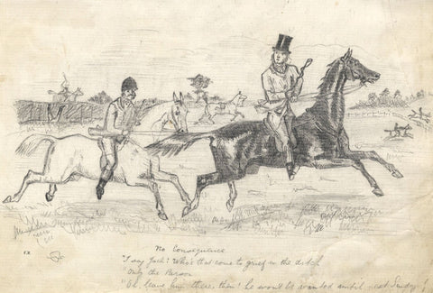 After John Leech, No Consequence Horse Riding Cartoon -Late 19th-century drawing
