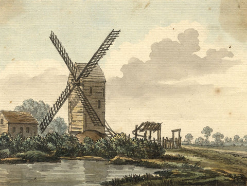 Fen Landscape with Windmill - Original early 19th-century watercolour painting