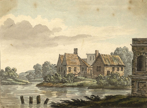 Fen Landscape with Cottages - Original early 19th-century watercolour painting