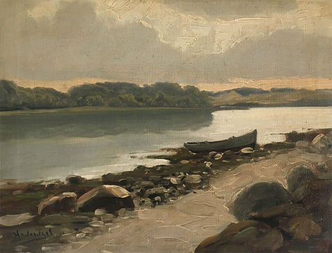Harald Wentzel, Evening on the Estuary, Denmark -Early 20th-century oil painting