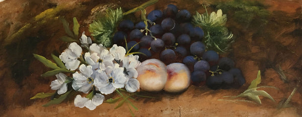 Attrib Evelyn Chester, Still Life Grapes & Peach,Early 20th-century oil painting
