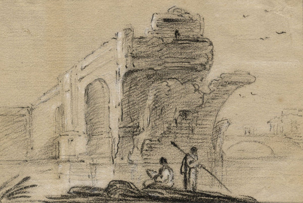 Richard Wilson RA , Avignon Bridge, Pont Saint-Bénézet - Original 18th-century chalk drawing